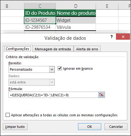 Exemplo 6: Fórmulas na validação de dados