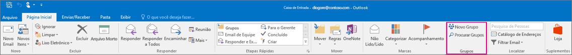 Opções de grupos na faixa de opções principal do Outlook