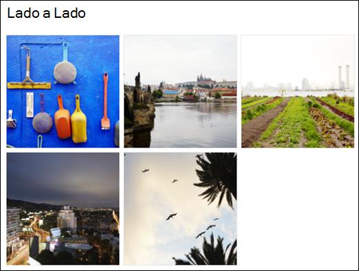 Modo de exibição de bloco do Galeria de imagens da Web Part