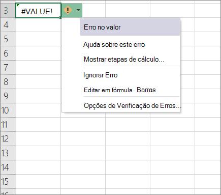 Lista suspensa que aparecem ao lado do ícone de valor de rastreamento