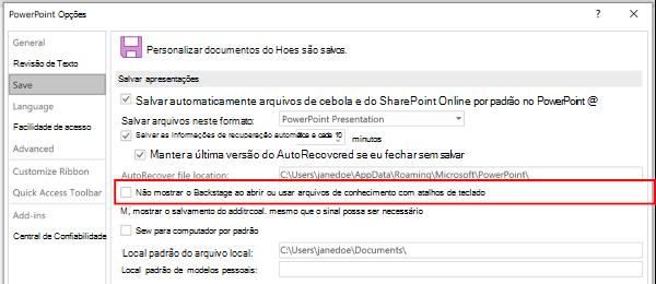 Uma captura de tela da caixa de diálogo opções do PowerPoint destacando a configuração para não usar o Backstage ao salvar com atalhos de teclado