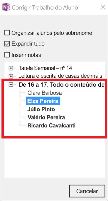 Captura de tela mostrando o trabalho de aluno a ser revisado
