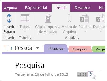 Captura de tela de como alterar o carimbo de hora em uma página no OneNote 2016.