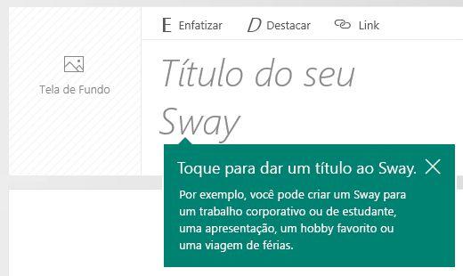 Aviso de título no Enredo do Sway