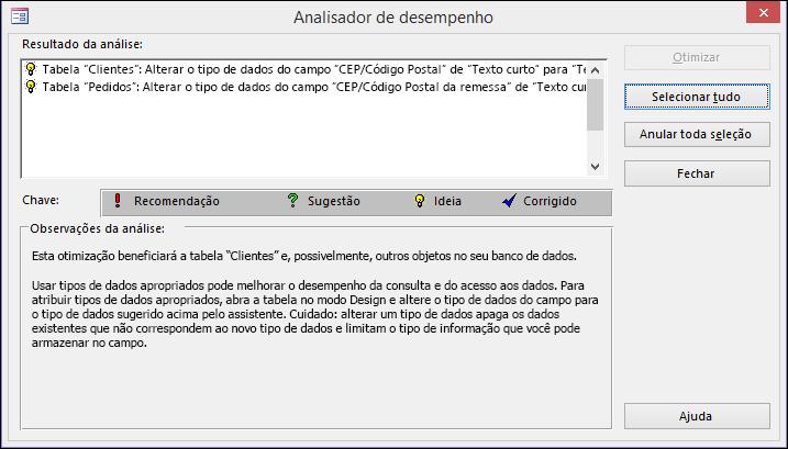 Caixa de diálogo de resultados do Performance Analyzer após execução no banco de dados do Access.