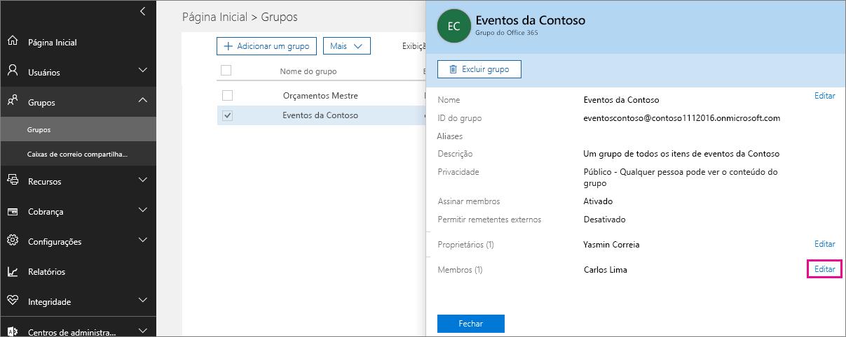 Captura de tela com o link Editar membros realçado