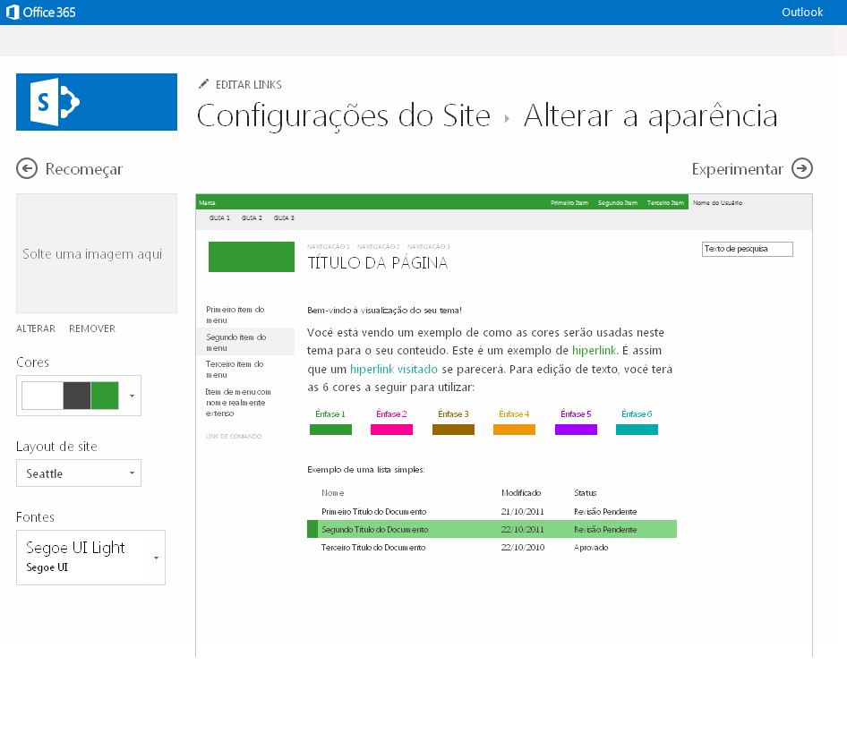 Alterar a cor, o layout e o tema de um site de publicação do SharePoint