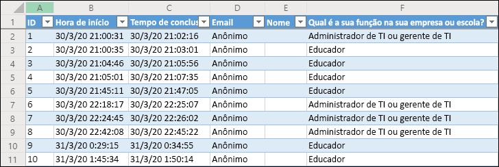 Pasta de trabalho do Excel exibindo resultados da pesquisa