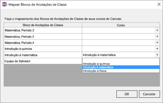 Painel Mapear Blocos de Anotações de Classe com as colunas Bloco de Anotações de Classe e cursos de Tela. Matemática Básica é o Bloco de Anotações de Classe que está sendo mapeado.