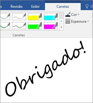 Mostra um exemplo de Palavras à tinta em um documento do Word