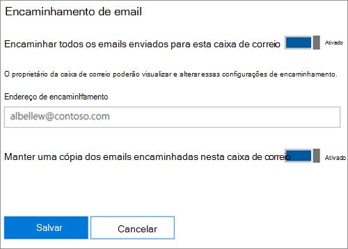 Captura de tela: Insira o encaminhamento de endereço de email