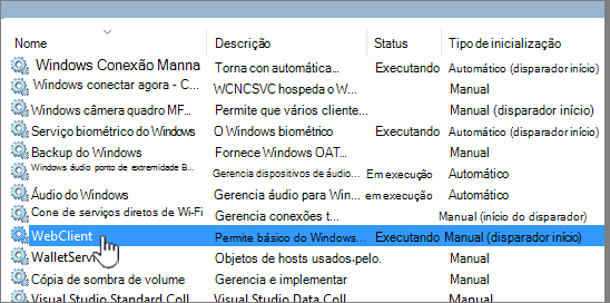 Services. msc com WebClient realçado