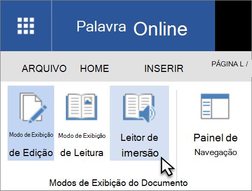 Abrir ferramentas de aprendizado no Word Online, selecionando a guia Exibir