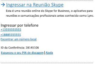 Interface de usuário de Ingressar na Reunião do Skype