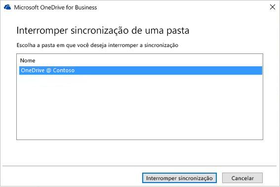 Captura de tela da caixa de diálogo Interromper a sincronização de pasta