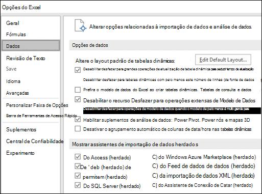 Opções de dados foram movidas do arquivo > Opções > Avançado seção para uma nova guia chamada dados em arquivo > Opções.