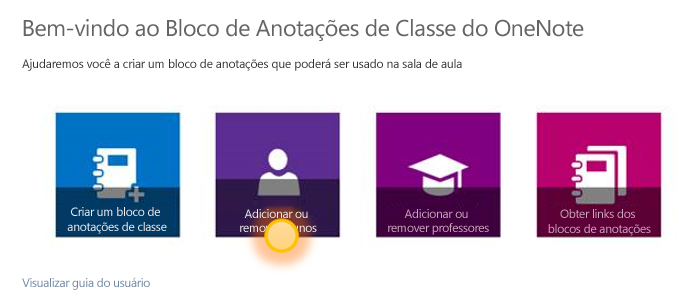 Captura de tela que mostra como adicionar ou remover alunos.