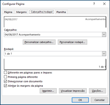 Configurar página > opções de cabeçalho e rodapé
