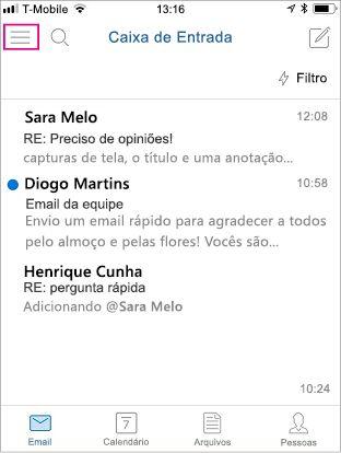 Tela inicial do Outlook Mobile com o botão de menu realçado