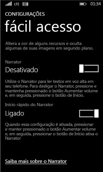 Configurações do narrador do Windows Phone