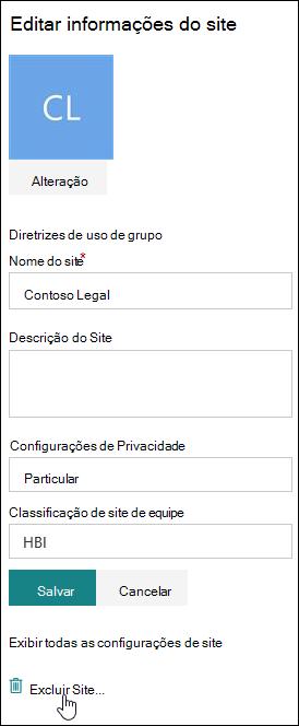 Painel de informações do site do SharePoint