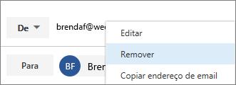 Remova o alias da caixa DE.