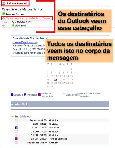 Exemplo de calendário recebido usando o recurso Calendário por Email