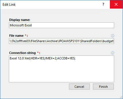 Caixa de diálogo Editar Link para uma fonte de dados do Excel