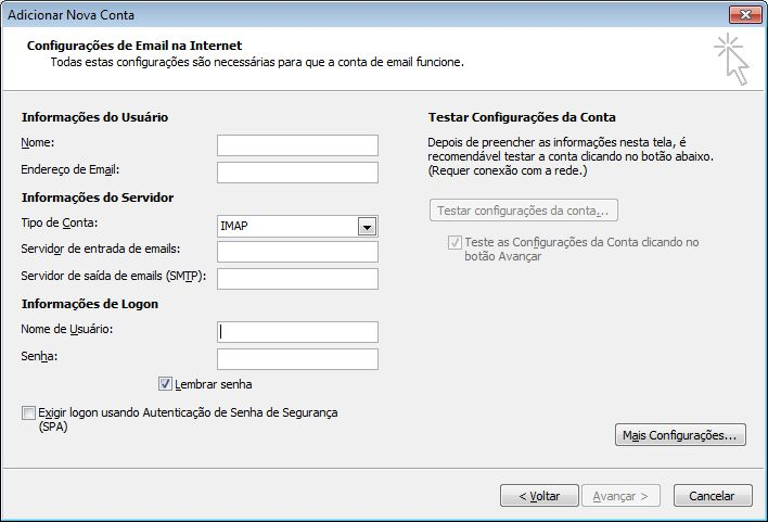 Configurações de Email de Internet do Outlook 2010