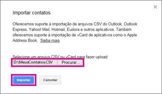 Gmail do Google – Caixa de diálogo Importar contatos