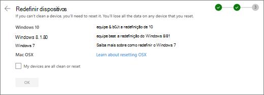 Captura de tela da tela de dispositivos REST no site do OneDrive