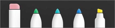 Opções de borracha, caneta e marca-texto e marca-texto do OneDrive for iOS