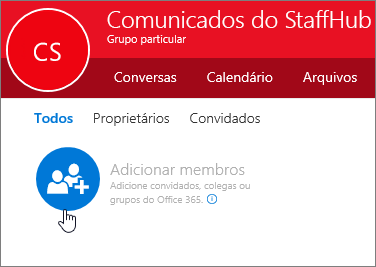 Adicione membros ao grupo do StaffHub no Outlook.