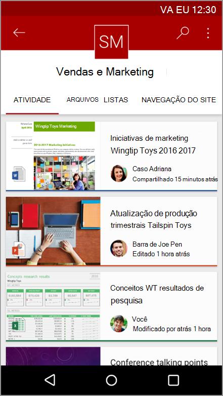 Captura de tela do aplicativo móvel Android mostrando navegação, arquivo, listas e atividade do site