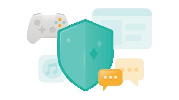 Ilustração de um escudo, um aplicativo de música, mensagens de texto e um controle de jogo
