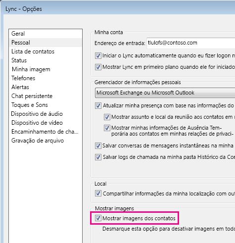 Captura da tela Opções do Lync com a opção Pessoal escolhida e Mostrar imagens de contatos
