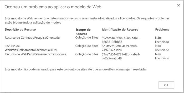 Captura de tela de uma mensagem de erro mostrando um erro que pode ser obtido se os recursos indisponíveis impedirem a criação de sites no SharePoint Online.