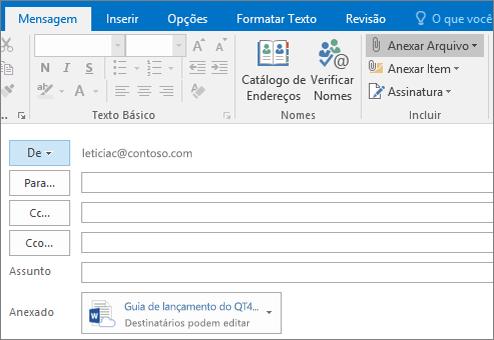 Captura de tela da janela de redação do Outlook com a opção Anexar Arquivo destacada e arquivo anexado