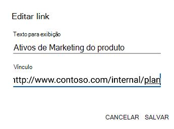 Caixa de diálogo texto do hiperlink do Outlook para Android