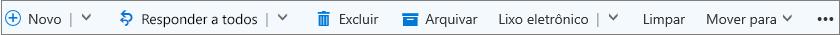 A barra de comandos do Outlook.com que é mostrada quando uma mensagem é selecionada