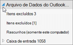 Para abrir o arquivo de dados do Outlook, escolha a seta ao lado dele.