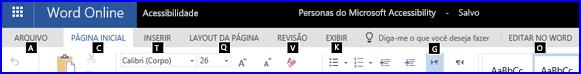 Faixa de opções no modo de exibição de Edição do Word Online mostrando as teclas de acesso