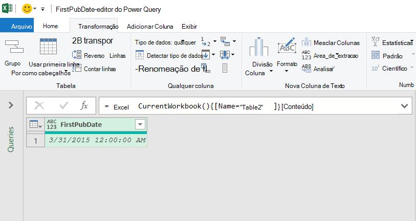 Dados de tabela do Excel carregados no editor do Power Query