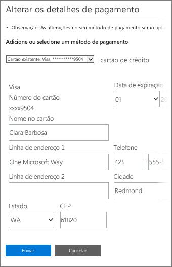 Página Detalhes de pagamento para atualizar as informações do cartão de crédito.