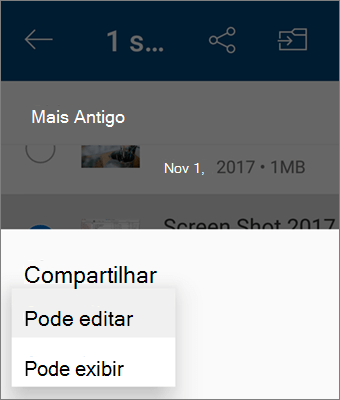 Captura de tela de como alterar a permissão ao compartilhar no aplicativo do OneDrive para Android