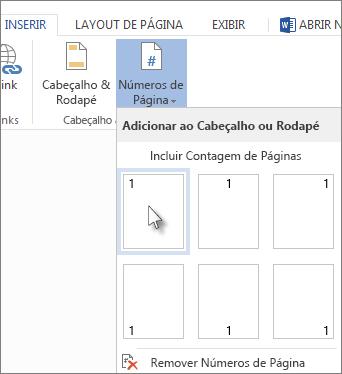 imagem da galeria do número de páginas que abre quando você clica em número de páginas na aba inserir.