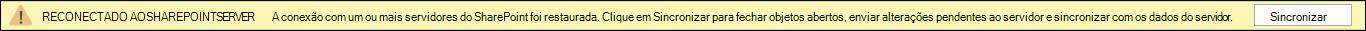 Clique em sincronizar para se reconectar ao servidor do SharePoint.