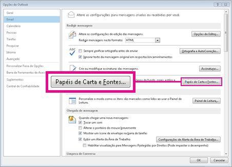 Comandos de Papel de Carta e Fontes na caixa de diálogo Opções do Outlook