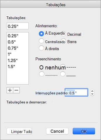 Caixa de diálogo da guia Mac