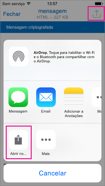 Visualizador de OME do Outlook para iOS 2
